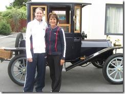 Kathy, Susan next to car