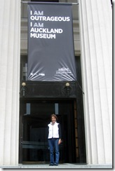 Susan under Auckland Museum sign